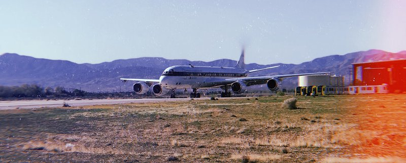 DC-8 Aircraft taxiing on the runway at the NASA Armstrong Flight Research Center