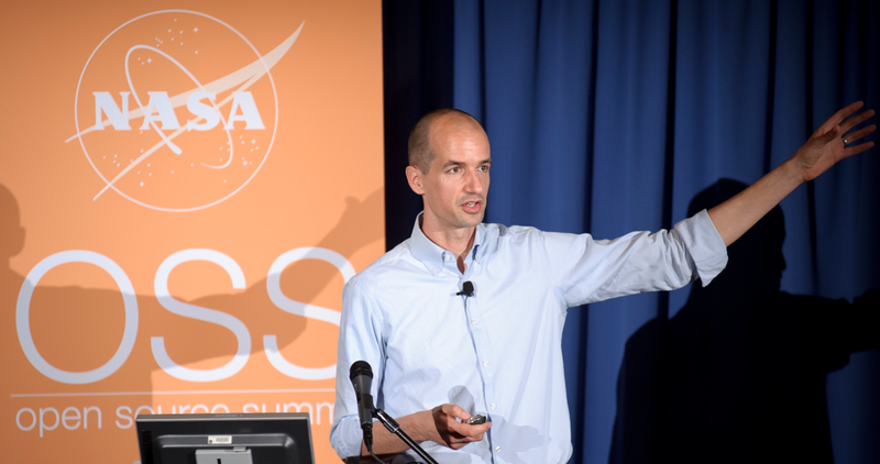Pascal Finette in front of an audience at the Open Source Summit