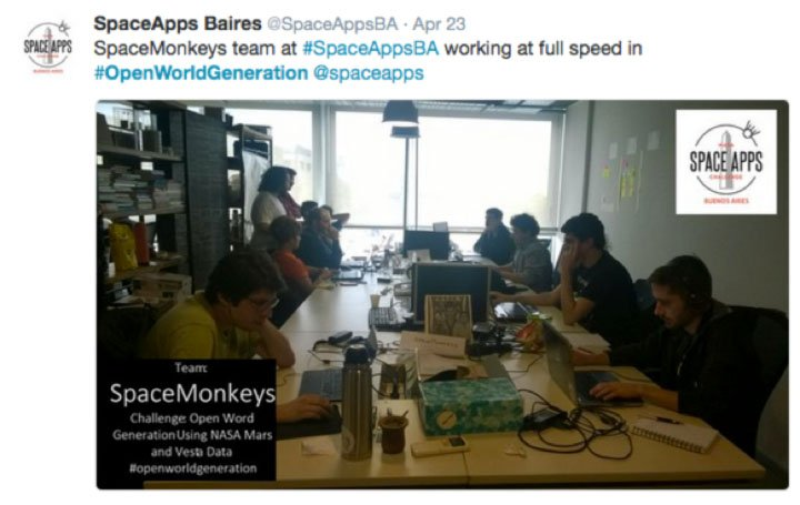 Tweet: Space Apps Baires 2016 Space Monkeys team at work