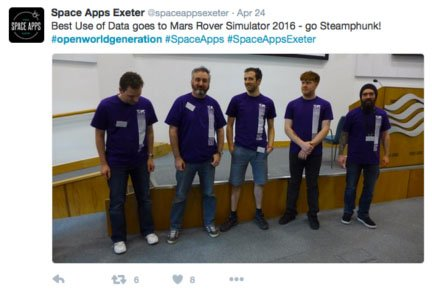 Space Apps Exeter 2016 Mars Rover Simulator Best Use of Data nominee