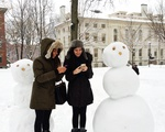 Tweeting with a snowman
