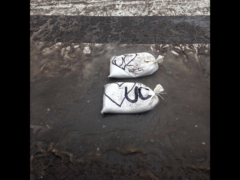 Sandbags outside Boylston Gate