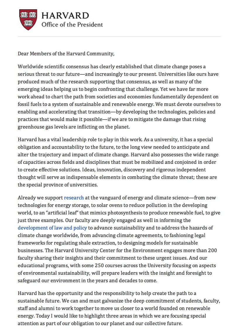Faust Letter on Climate Change