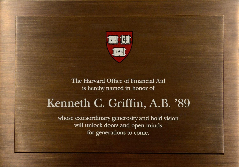 Financial Aid Office Dedication Plaque