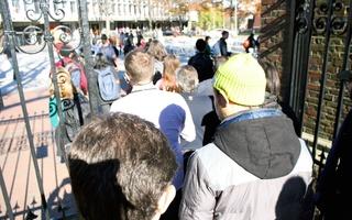 Students Evacuate Harvard Yard