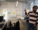 Capodilupo gestures at the WHOOP office