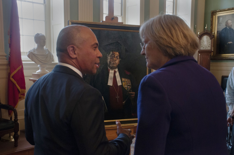 Gov. Deval Patrick, President Faust at Gomes portrait unveiling.