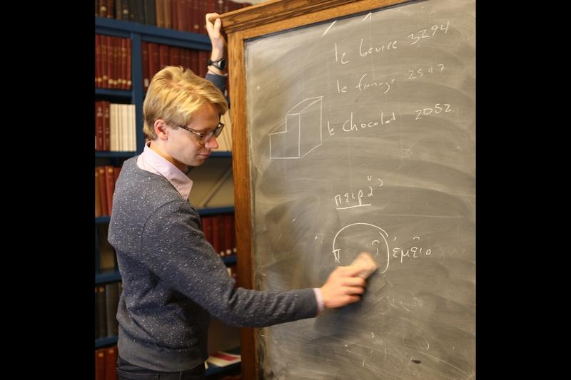 Luke Heine and a chalkboard