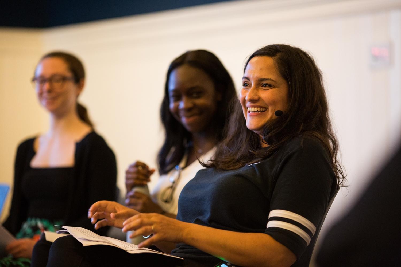 Playwright Jaclyn Backhaus spoke at Farkas Hall on Sept. 27.