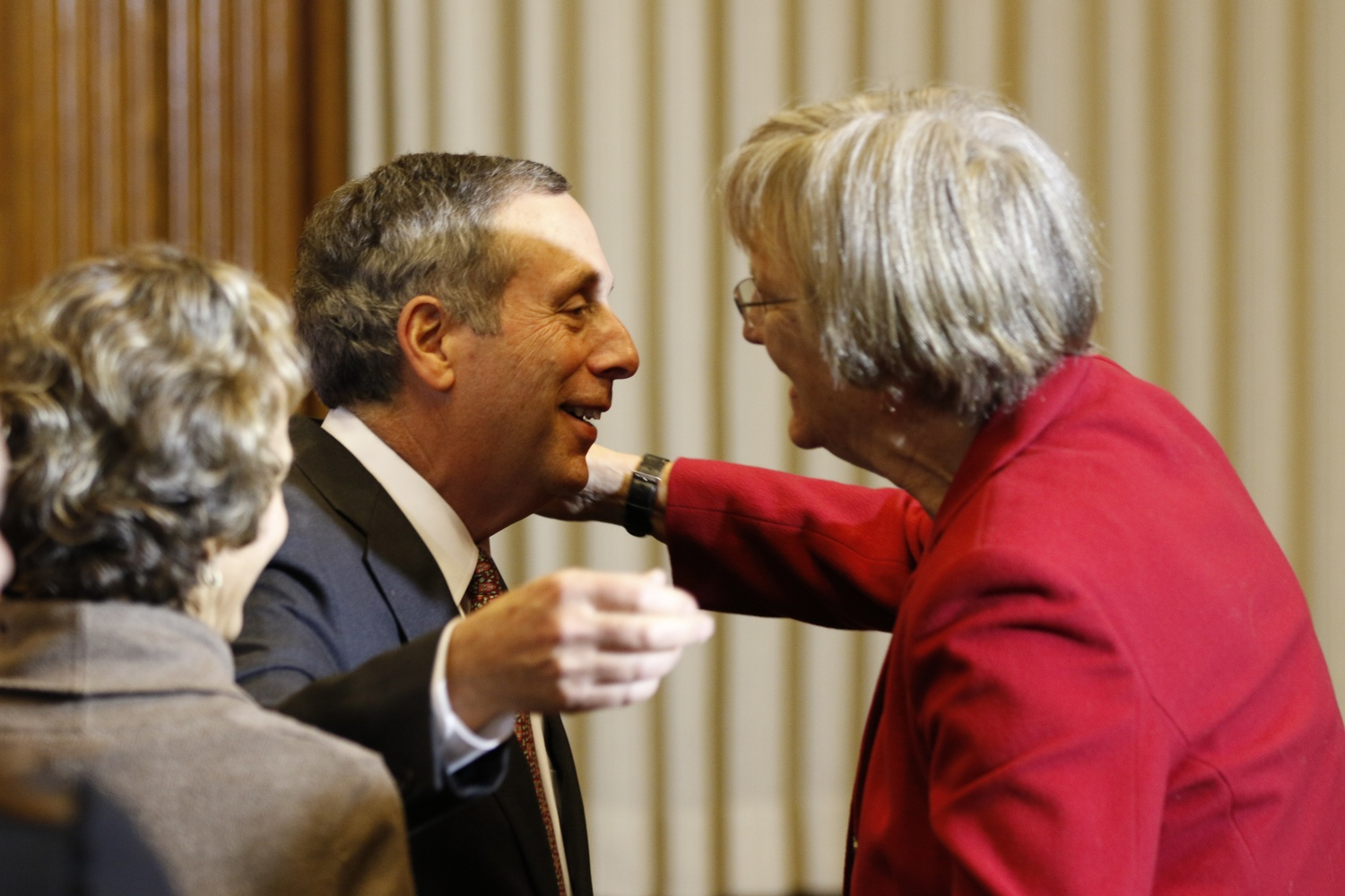Bacow 7 hugging Drew Faust