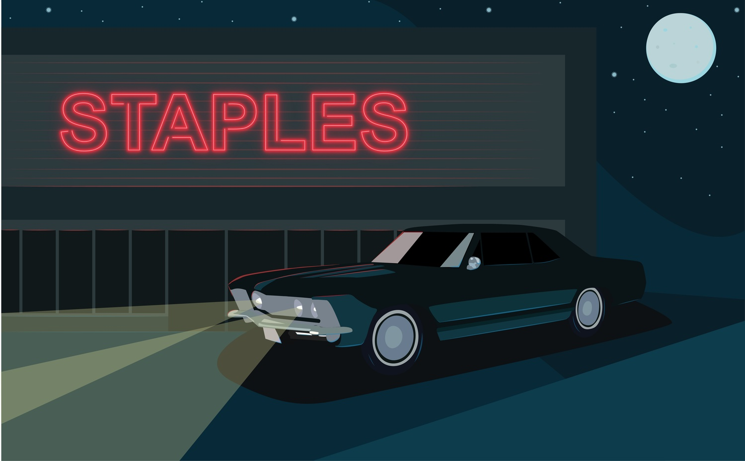 A car in front of Staples.