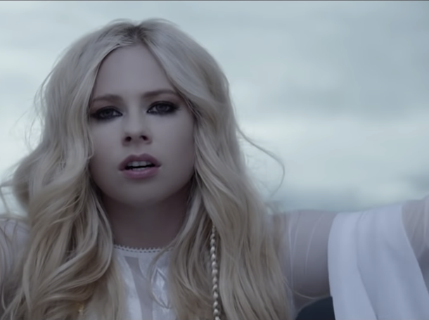 "Avril Lavigne in the video for ""Head Above Water."""