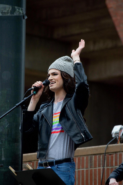 Jackie Rae at Transgender Rights Rally
