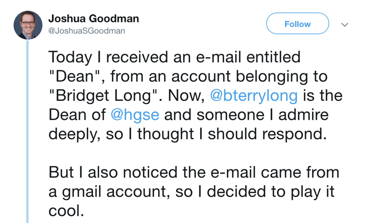 HGSE Dean Scam: The First Email