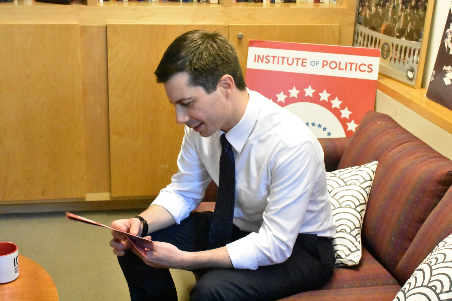 Mayor Pete Looks at a Pamphlet