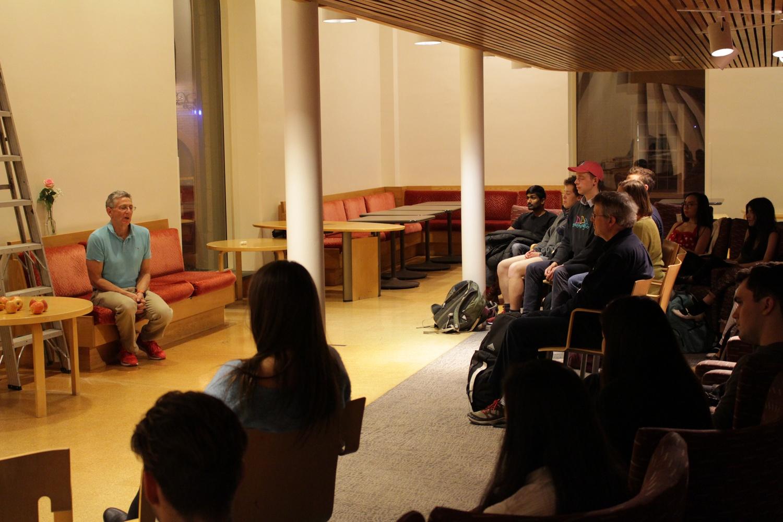 Ashrita Furman talks to crowd