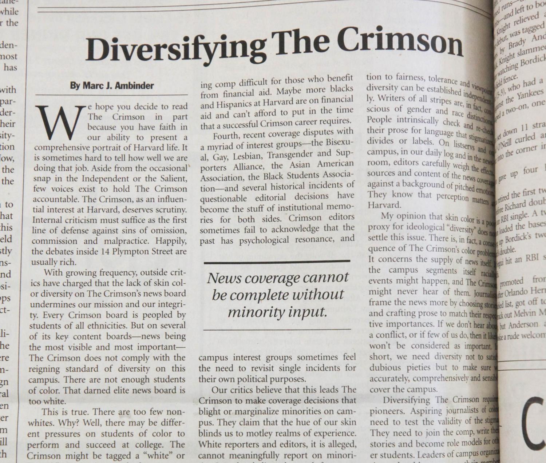 Diversifying The Crimson 2001