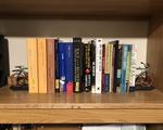 social studies books on bookshelf