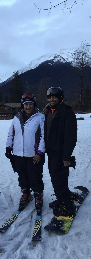 2015: WE tried skiing and snowboarding in Alaska and learned that we need MANY more lessons!