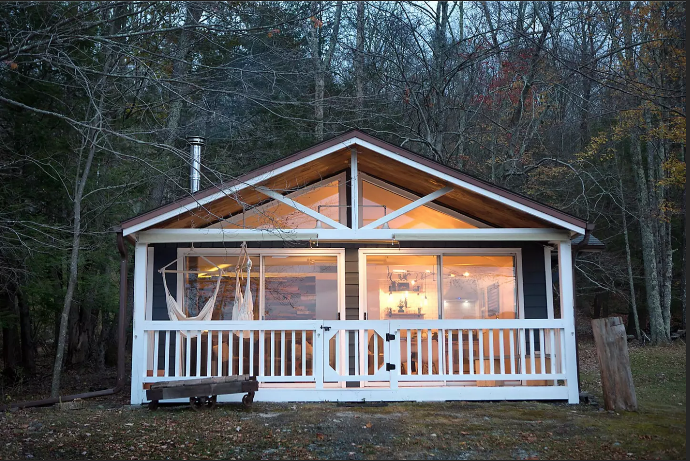 Ben proposed to Allison while she was sitting on the hammock of this cabin in the Catskills on October 12, 2017.