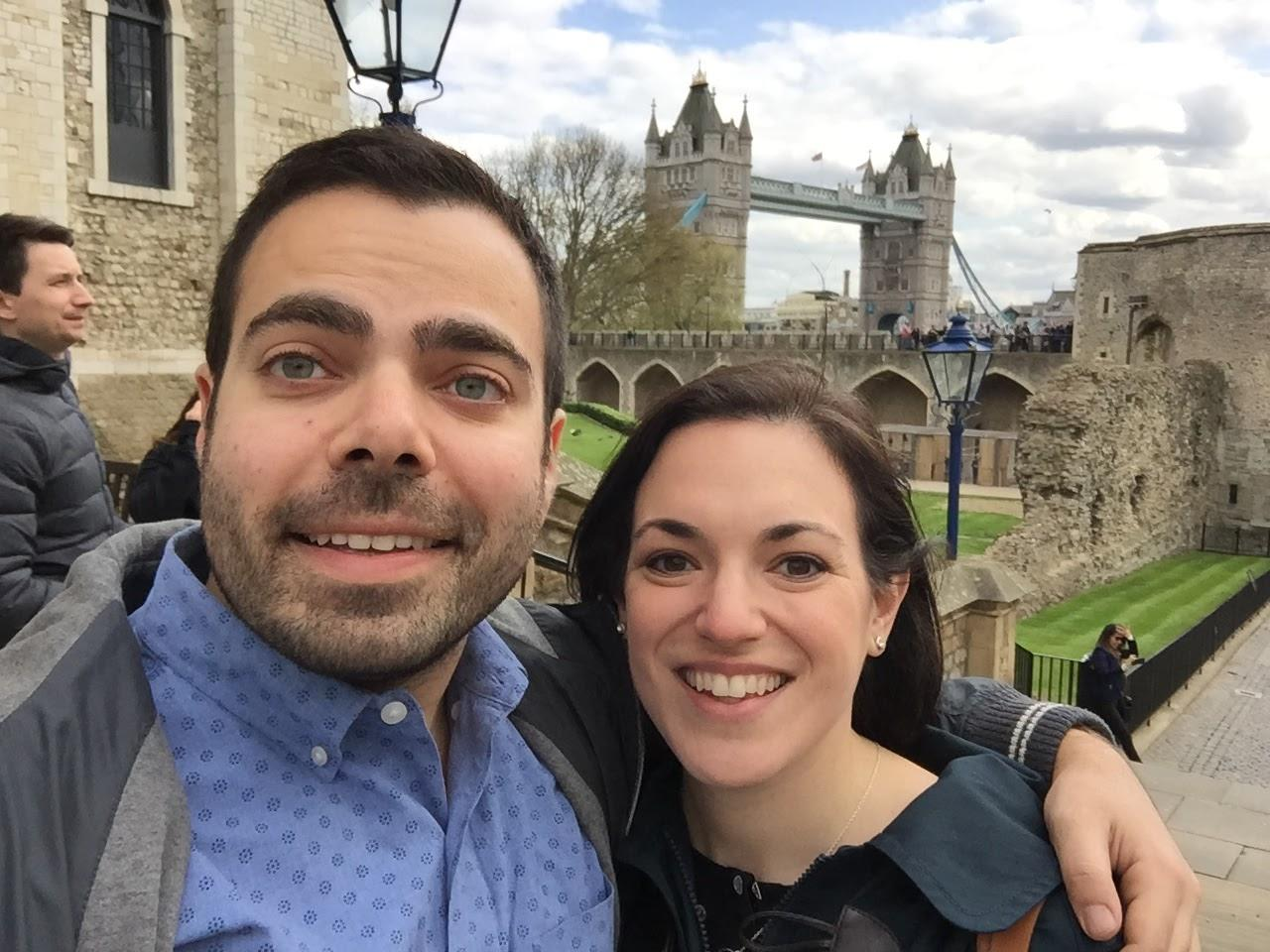 We've seen much of the country (and a little bit of the world) together - here we are on our first trip together!! (London, England)