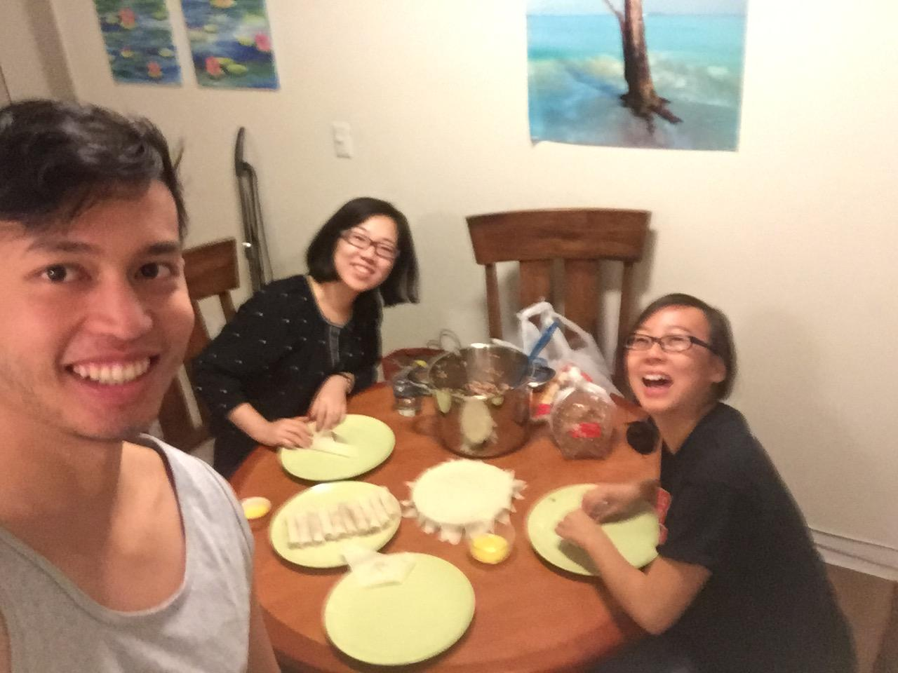 Making lumpia with Silby, December 2015