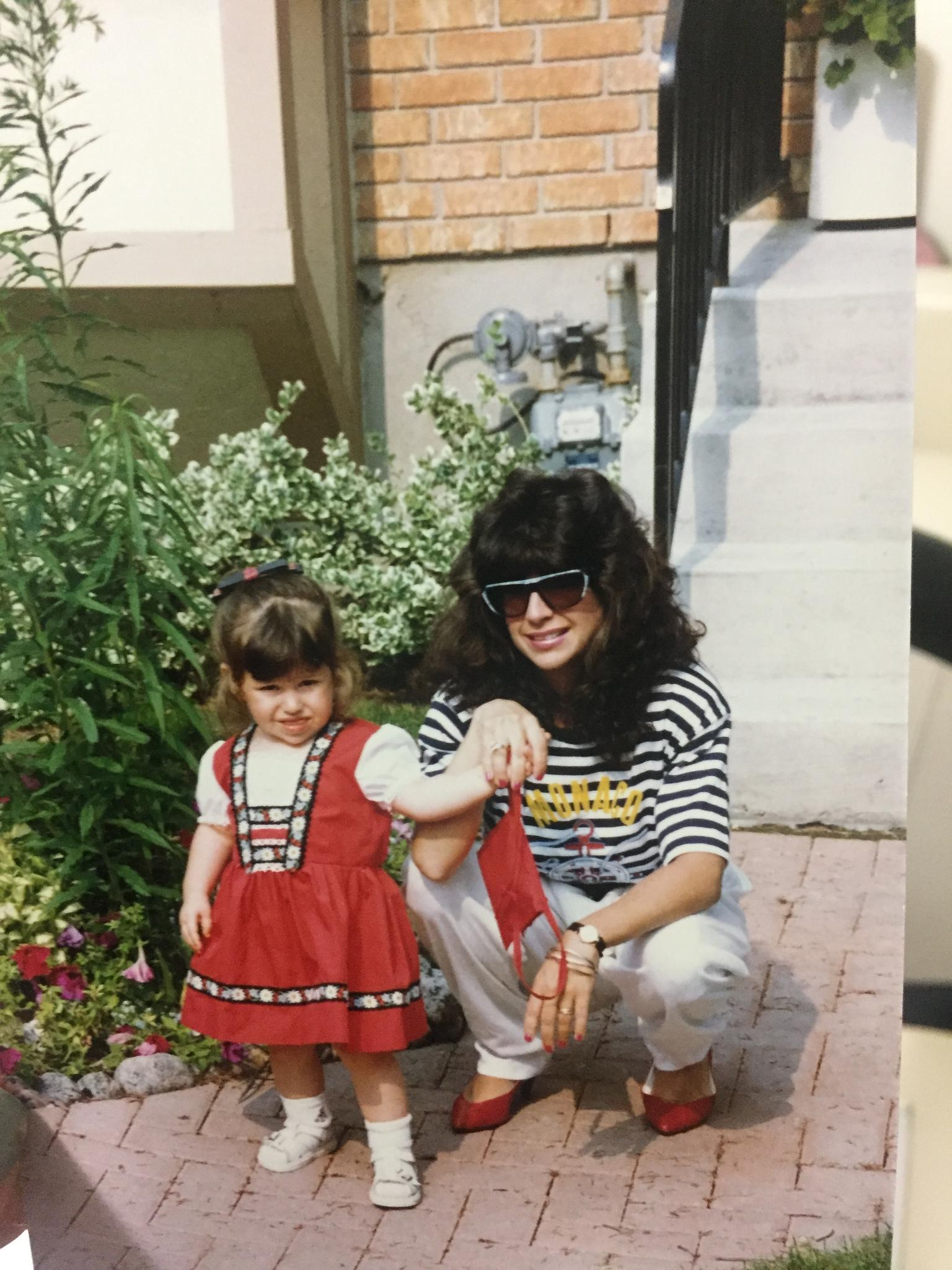 Danielle and her mom, an 80s fashion plate
