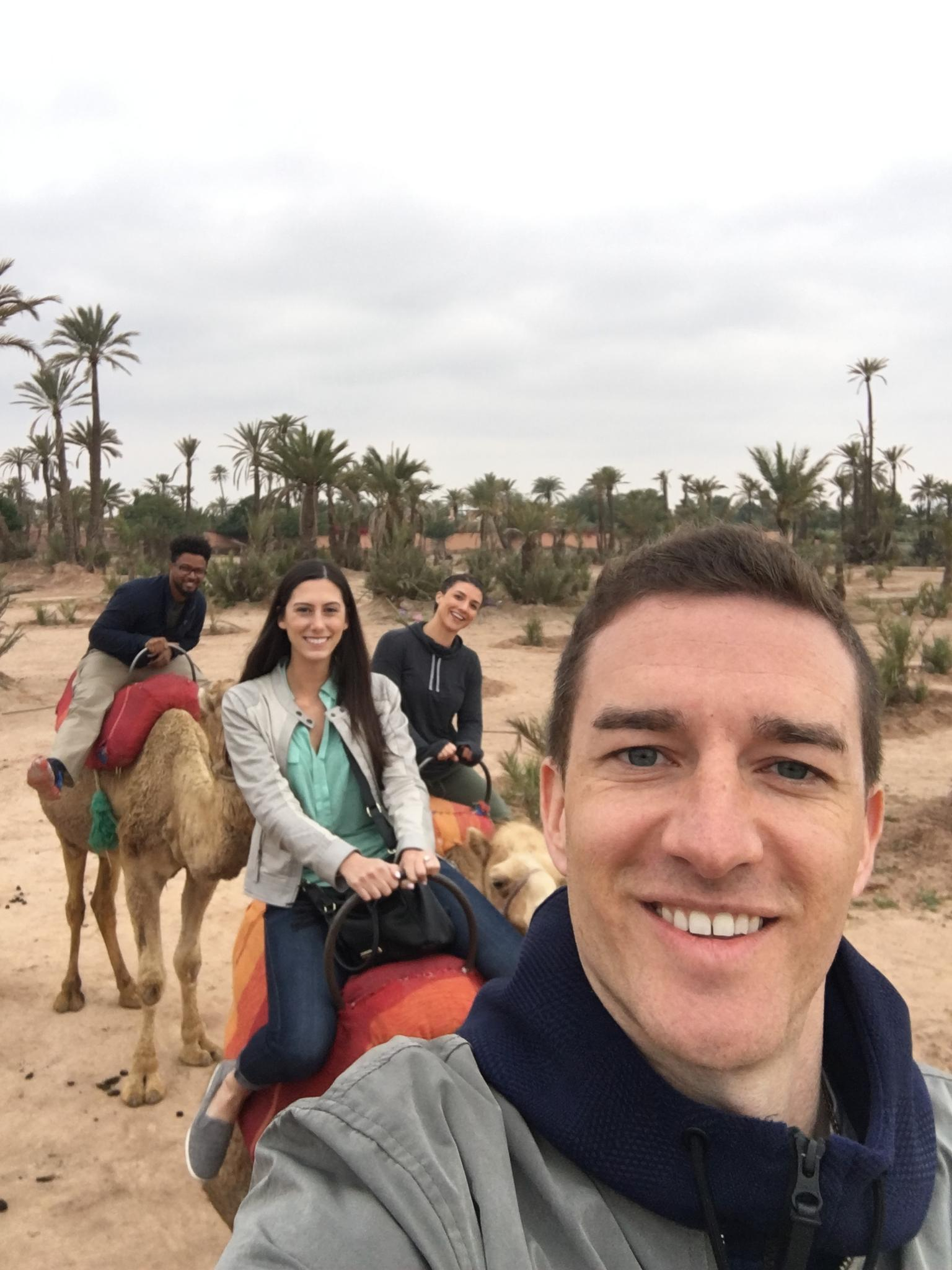 Riding camels in Morocco with Drew and Brittany