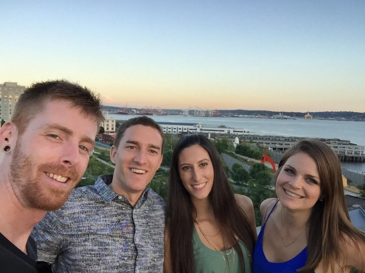 Seattle rooftop with Ryan and Anna