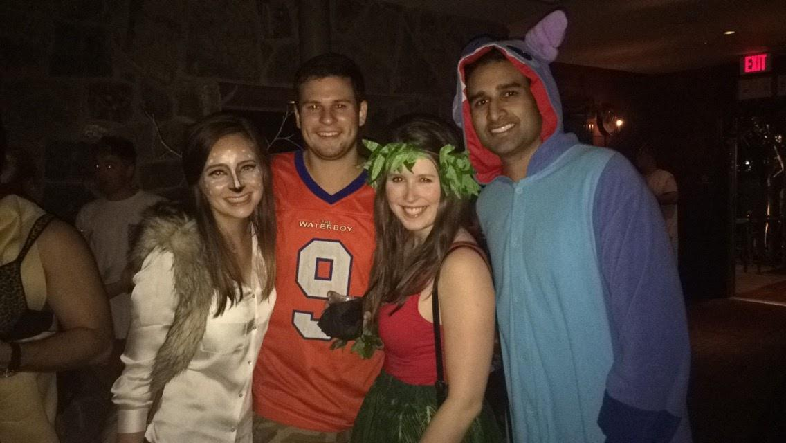 Our first Halloween visited our dear friend Kate and dressed as Lilo and Stitch. William was in college at the time and was sweet enough to hang out with the oldies!