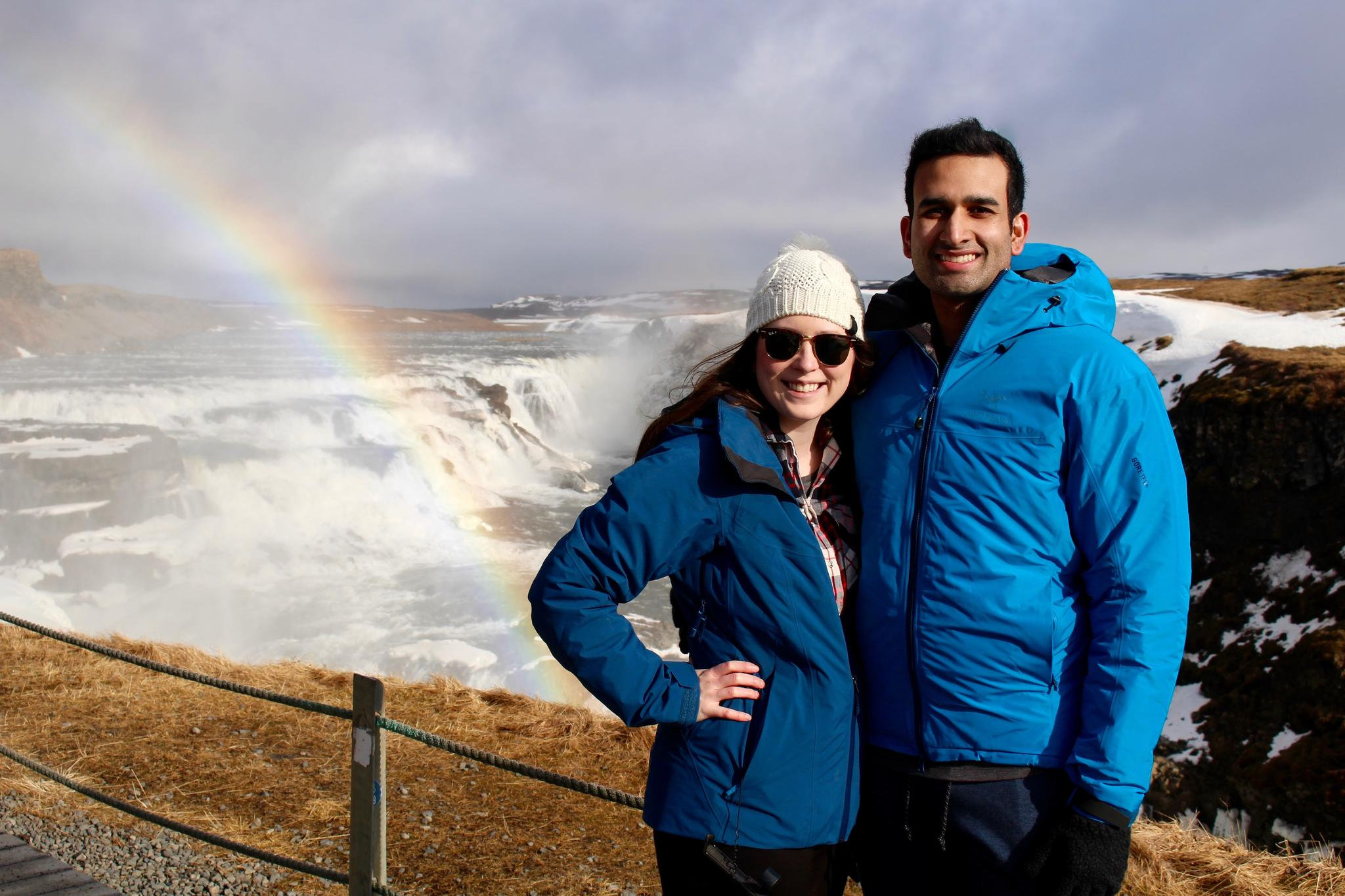 One of our favorite travel adventures was Iceland, here we are taking in the unbelievable beauty of Gullfoss waterfall.