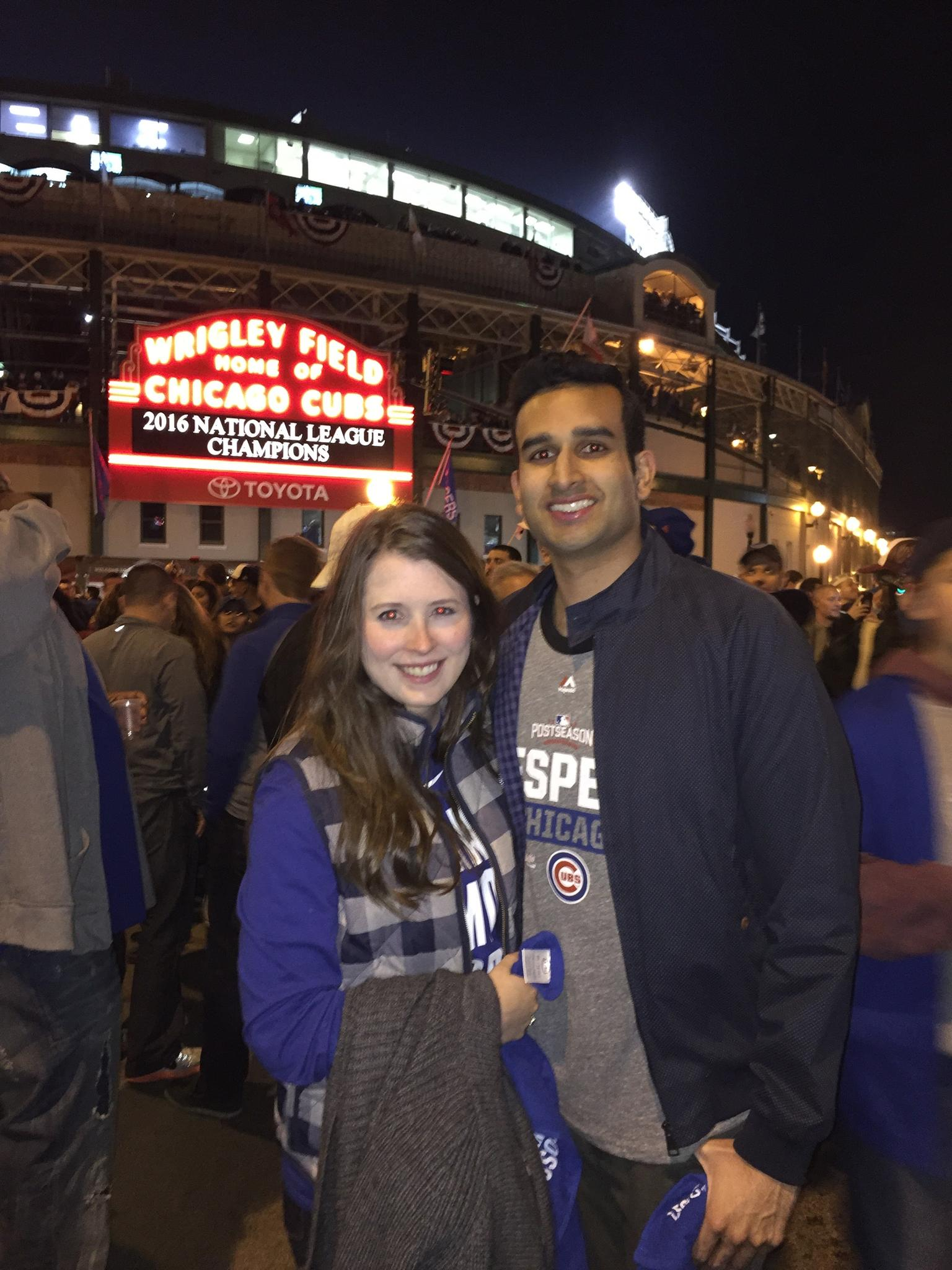 Watching the Chicago Cubs make baseball history with their curse breaking win over the Dodgers!