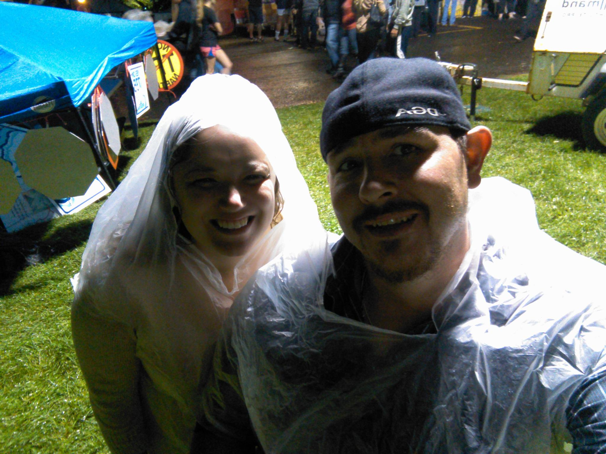 """Garbage bag attire for rainy PIG OUT concert. Shout out to the Pavillion custodian who so graciously obliged to our request.        """"I like big butts and I cannot lie!"""""""