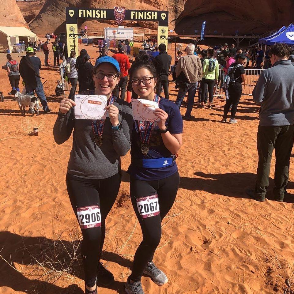 Lisa in Arizona with good friend and old co-worker Mary for a half marathon