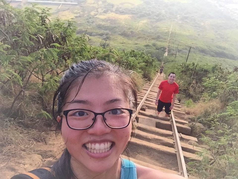 Hawaii — one of the few hikes Alex has gone on with Lisa. The only time he actually beat her!
