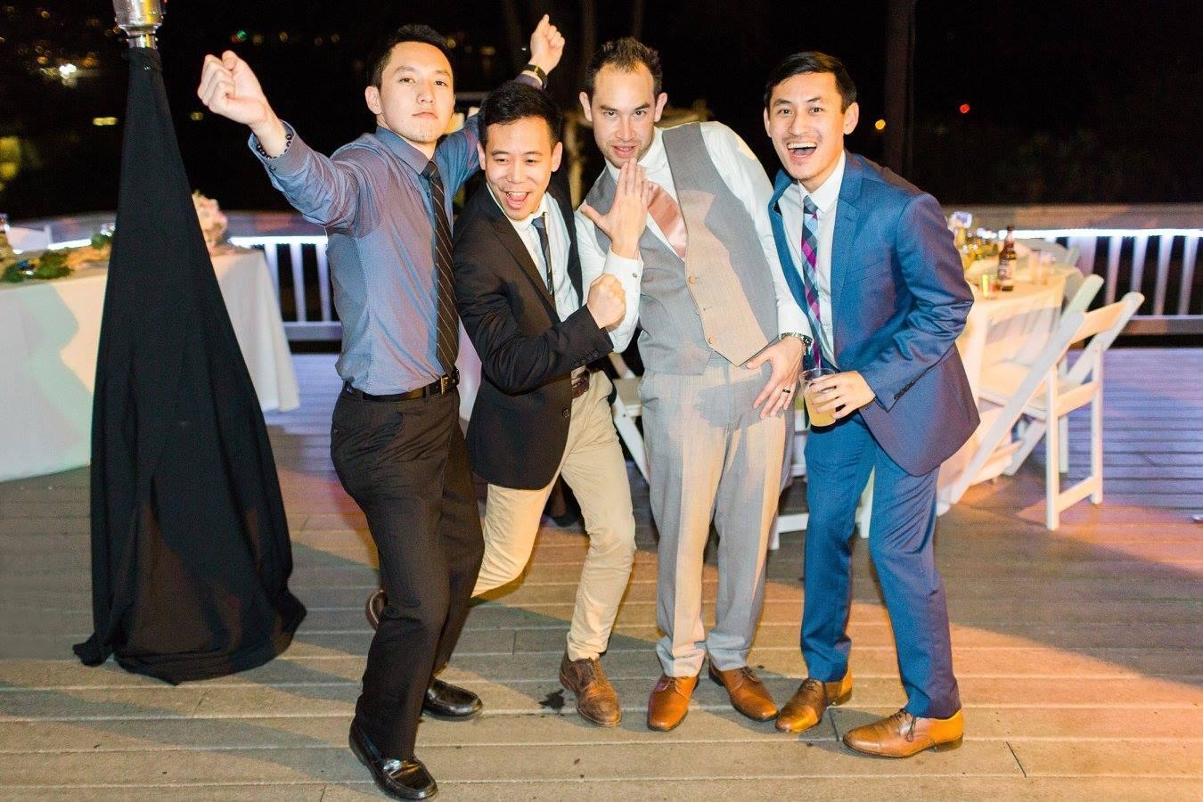 Alex and his groomsmen—Jason, Kevin and Patrick—partied it up at Kevin and Caroline's wedding!