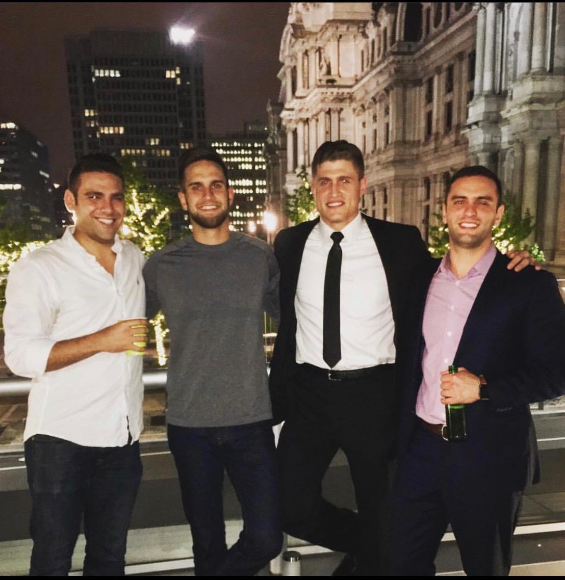 Scott with his friends Will, Ethen (groomsman), and Dan (groomsman).