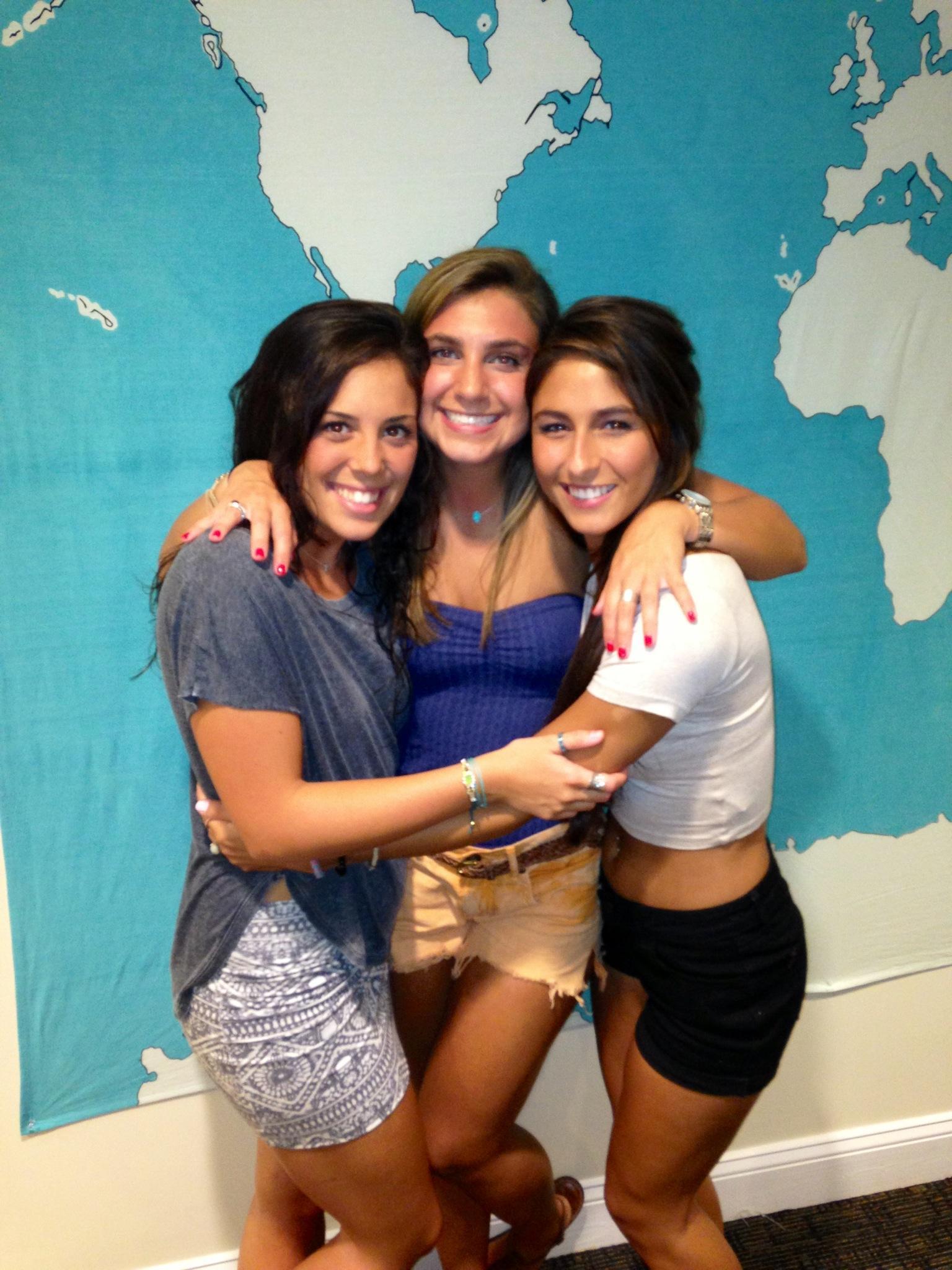 Taylor with her bridesmaids, Kirsten and Lauren.