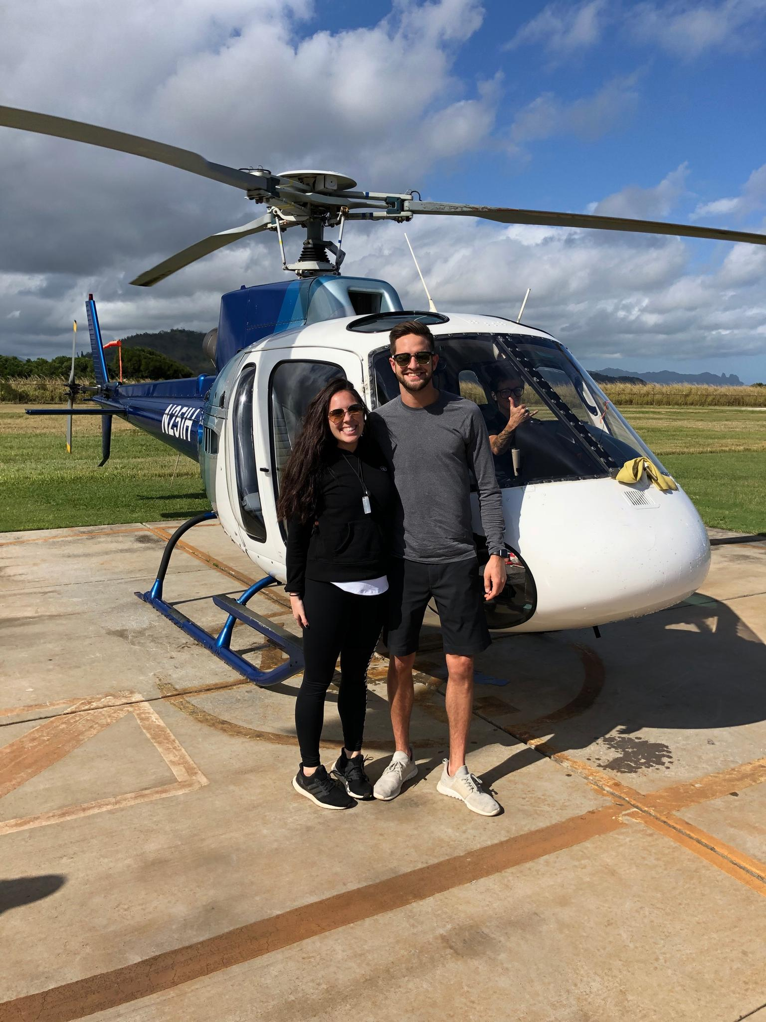 Scott and Taylor on their first-ever helicopter ride in Hawaii, 2018.