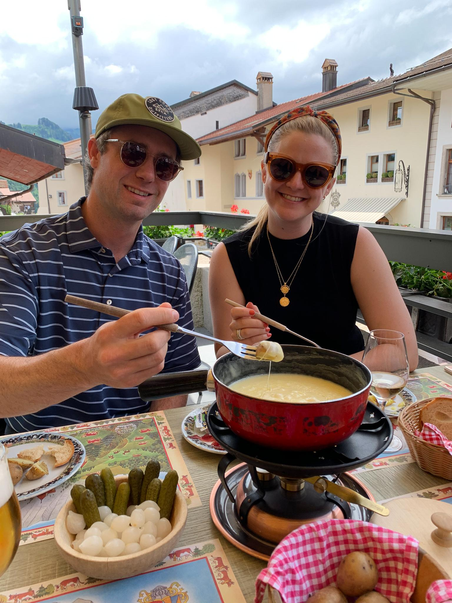 Eating fondu in Gruyere, Switzerland in June 2019.