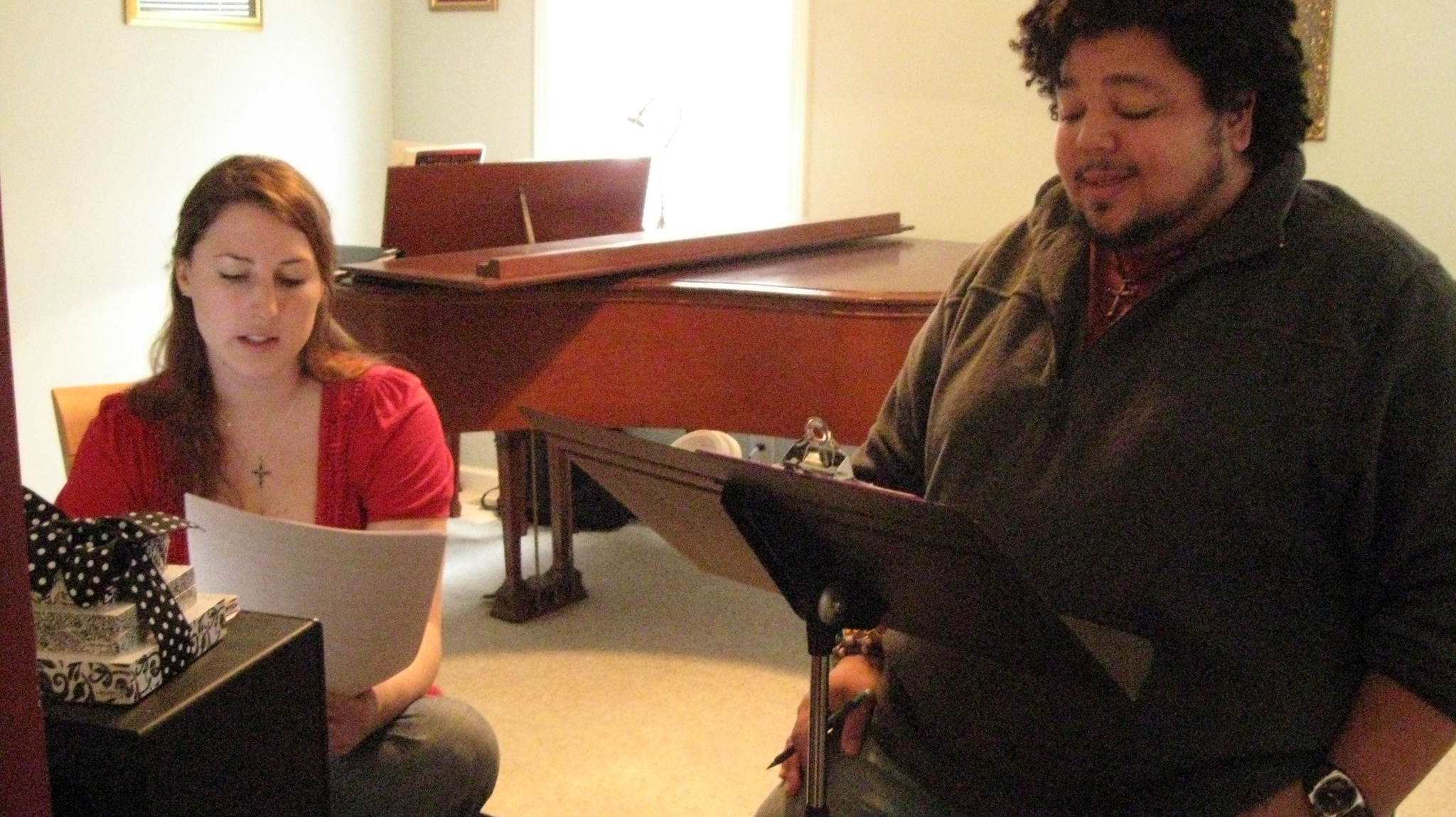 Monti with Erica Lane (amazing voice), practicing for upcoming session