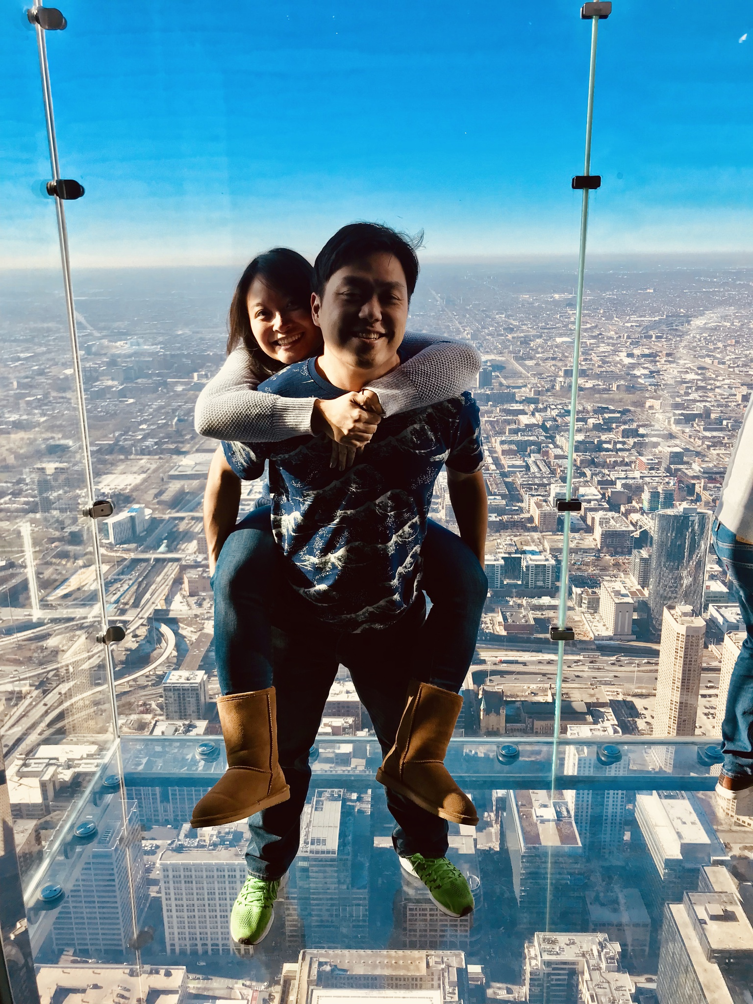 Being brave on the Skydeck of the Sears Tower (aka Willis Tower) in Chicago