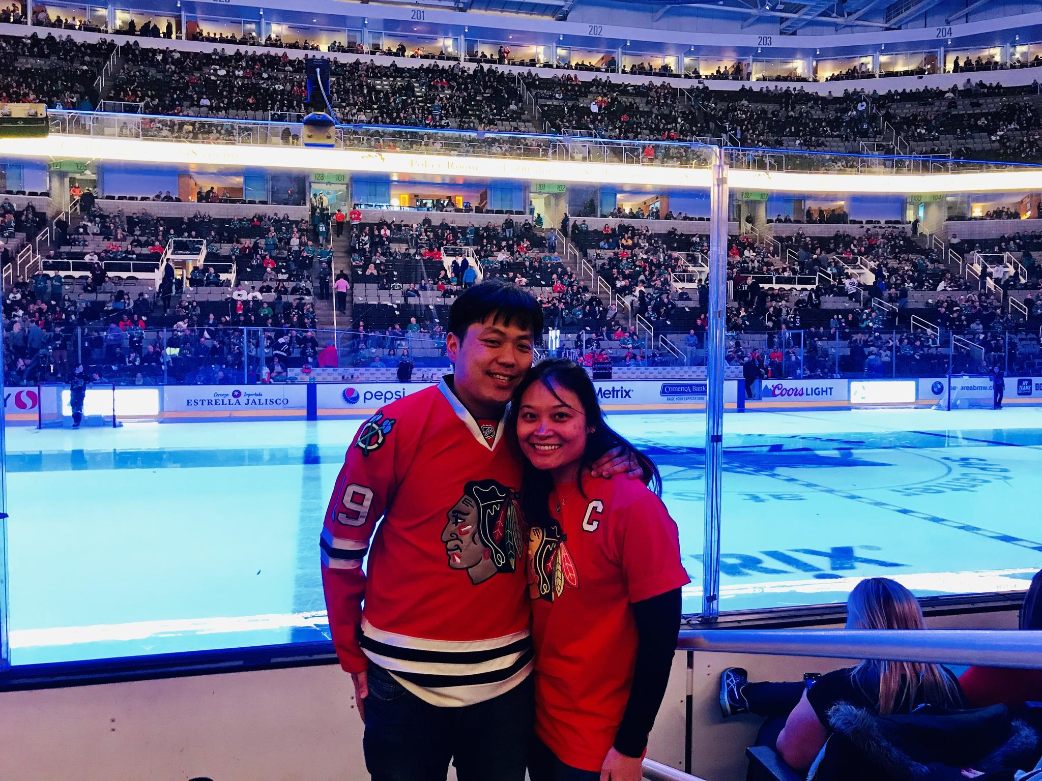 It's true love when the Bay Area native wears a Hawks jersey to a Hawks-Sharks game in San Jose!