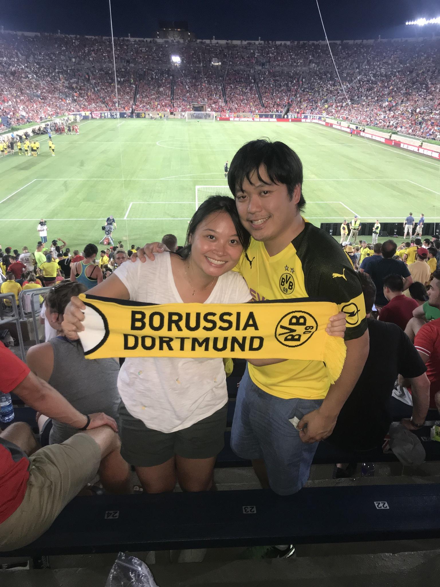 Enjoying a Dortmund friendly in Notre Dame Stadium